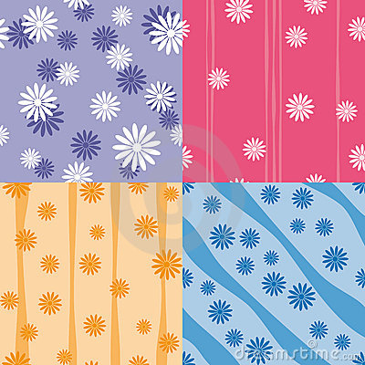 Vector set of four colorful seamless patterns