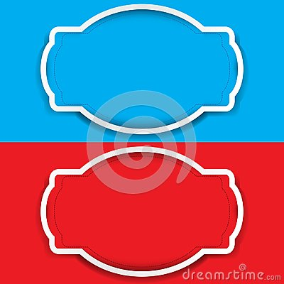 Vector set of frame colored blue and red