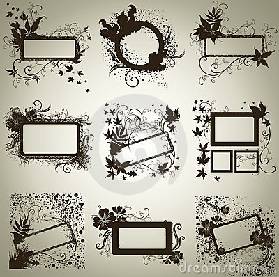 Vector set of frames with Autumn Leafs. Thanksgiv