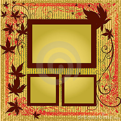 Vector set of frames with Autumn Leafs. Thanksgivi