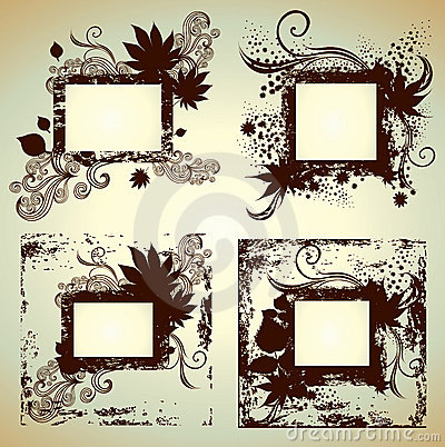 Vector set of frames with Leafs. Thanksgiving