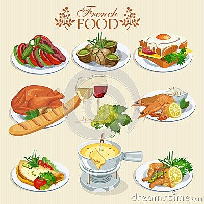 vector set of french cuisine national food of france icons for menu stock illustration image. Black Bedroom Furniture Sets. Home Design Ideas