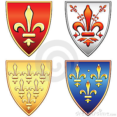 vector Set French shields with arms of the fleur