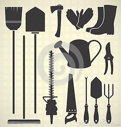 Vector Set: Garden Tools Silhouettes