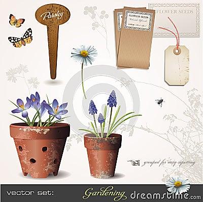 Free Vector Set: Gardening Stock Image - 13120471