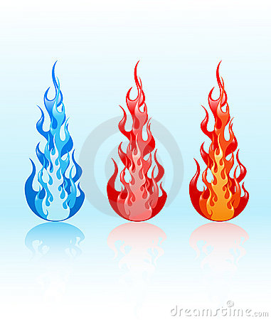 Vector set of glossy flames