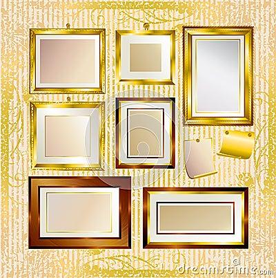 Vector set of gold frames