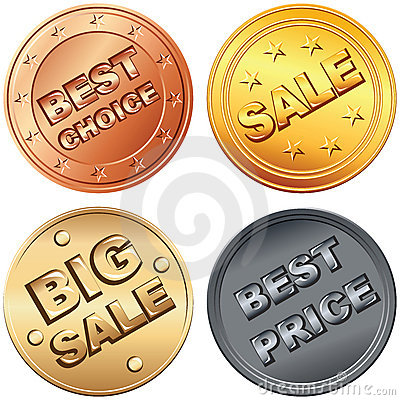 vector Set of gold, silver, bronze price tags