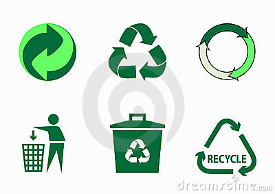Vector set of green ecological icons
