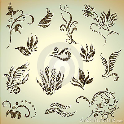Vector set of grunge leafs and flowers