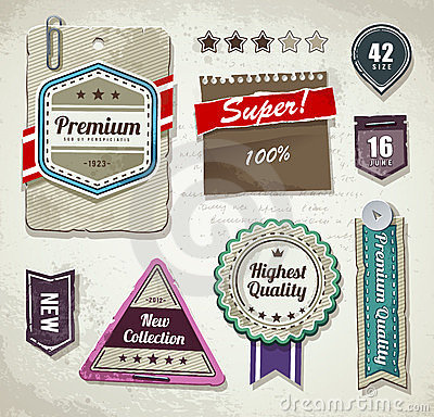 Vector set of grunge paper labels