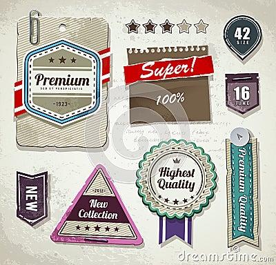 Vector set of grunge paper labels
