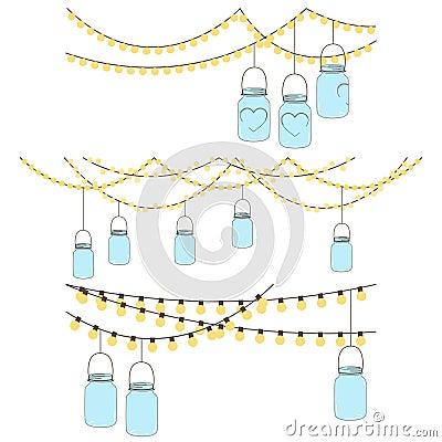 Vector set of hanging glass jar lights royalty free stock photos