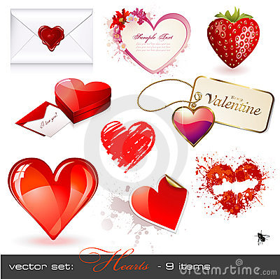 Free Vector Set: Hearts Stock Images - 12582984