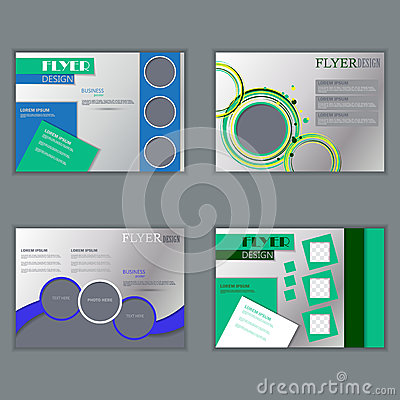 horizontal brochure design - vector set of horizontal flyers template stock vector