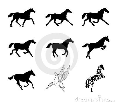 Vector set of horse silhouettes