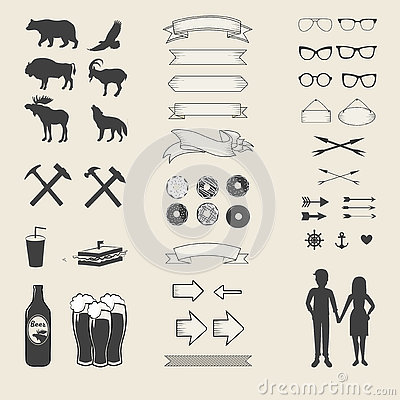 Vector set of icons and labels for your design Vector Illustration