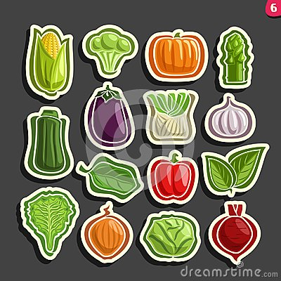 Free Vector Set Icons Of Fresh Vegetables Royalty Free Stock Image - 100050456
