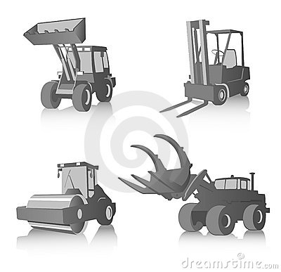 Vector set of industrial machines, grayscale