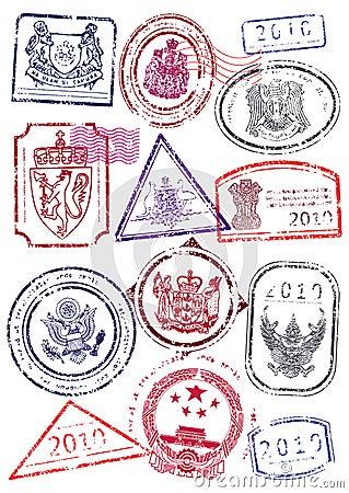 Vector set of international passport stamps.