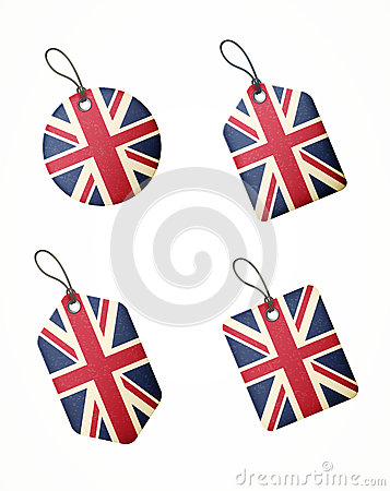 Vector set of labels with united kingdom flag