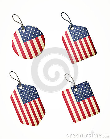 Vector set of labels with united states of america flag