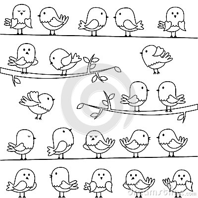 Vector Set Of Line Art Cartoon Birds Stock Vector Image