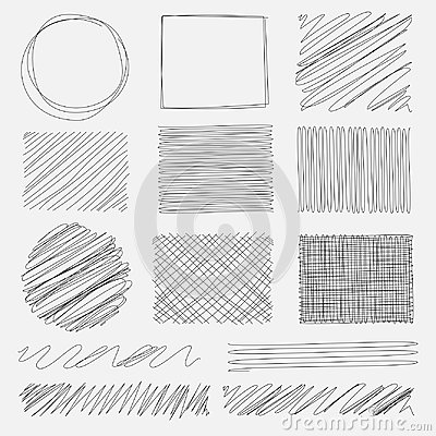 Vector set of line grunge brushes textures. Vector Illustration