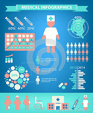 Vector set of medical infographics. Vector Illustration