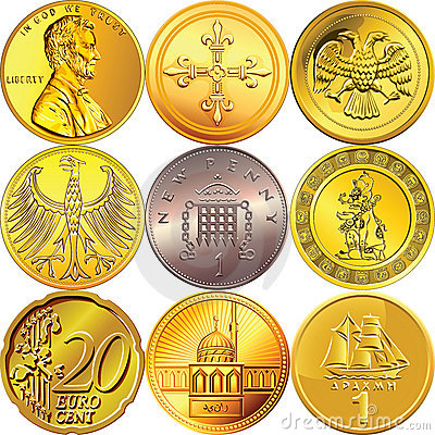 Free Vector Set Money Coins Of Different Countries Royalty Free Stock Image - 22366426