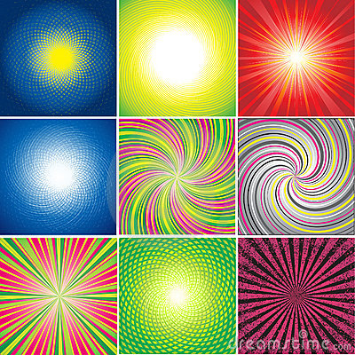 Vector set of multicolored shining backgrounds