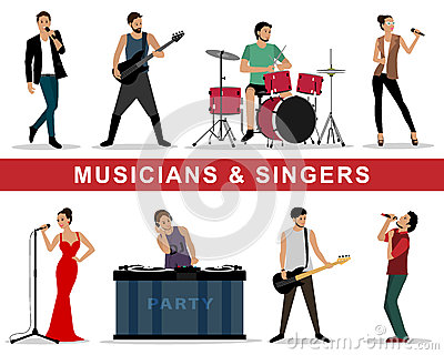 Vector set of musicians and singers: guitarists, drummers, singers, dj Vector Illustration
