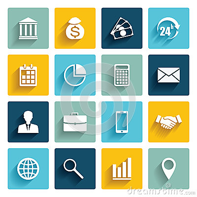 Free Vector Set Of 16 Flat Business Icons. Royalty Free Stock Images - 67428939