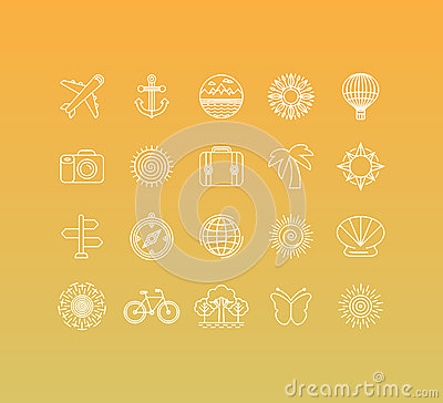 Free Vector Set Of 20 Icons And Sign In Mono Line Style Stock Image - 54845331