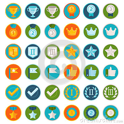 Free Vector Set Of 36 Flat Gamification Icons Royalty Free Stock Photography - 42330737