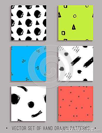 Free Vector Set Of 6 Handdrawn Seamless Patterns Stock Images - 89575054