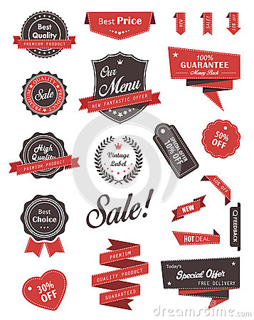 Free Vector Set Of Banners, Labels, Ribbons And Stickers. Royalty Free Stock Image - 50134166