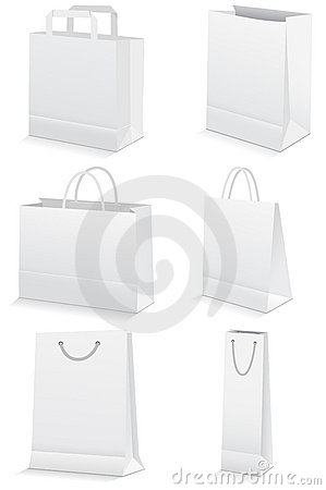 Free Vector Set Of Blank Paper Shopping Bags. Royalty Free Stock Image - 15062596