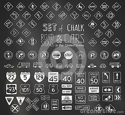 Free Vector Set Of Chalk Road Signs In The United States And Vehicles. Royalty Free Stock Images - 61614569