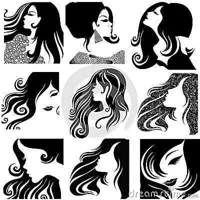 Free Vector Set Of Closeup Portraits Of Beautiful Woman Royalty Free Stock Image - 13835016
