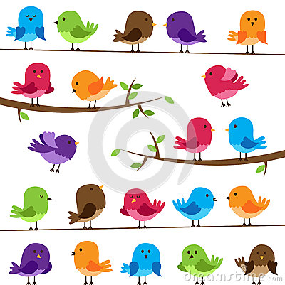 Free Vector Set Of Colorful Cartoon Birds Royalty Free Stock Images - 38440319