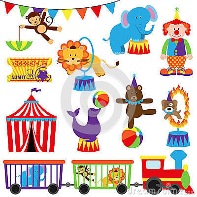 Free Vector Set Of Cute Circus Themed Images Royalty Free Stock Image - 38754106