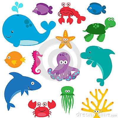 Free Vector Set Of Cute Sea Creatures Royalty Free Stock Photo - 38440365