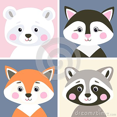 Free Vector Set Of Cute Woodland And Pet Animals. Funny Polar Bear, Kitten, Fox And Raccoon In Flat Style. Royalty Free Stock Image - 126222816