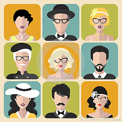 Free Vector Set Of Different Retro Flapper Girls In Different Shapes Vintage Glasses And Men In Trendy Flat Style. Royalty Free Stock Photography - 88095307