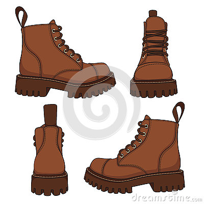 Free Vector Set Of Drawings With Brown Boots. EPS10 Royalty Free Stock Image - 74172756