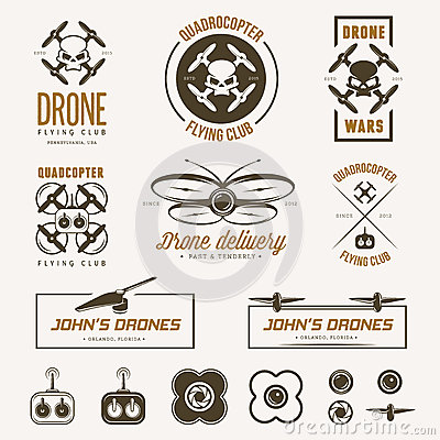 Free Vector Set Of Drone Flying Club Labels, Badges Royalty Free Stock Images - 56543029