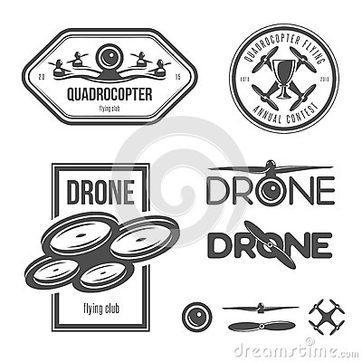 Free Vector Set Of Drone Flying Club Labels, Badges Royalty Free Stock Image - 56543056
