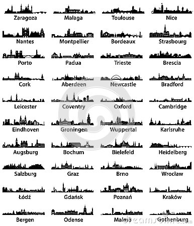 Free Vector Set Of European City Skilines Royalty Free Stock Images - 61709269