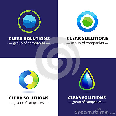 Free Vector Set Of Four Minimalistic Abstract Water Logotypes. Ecological Logos Stock Photography - 65547702